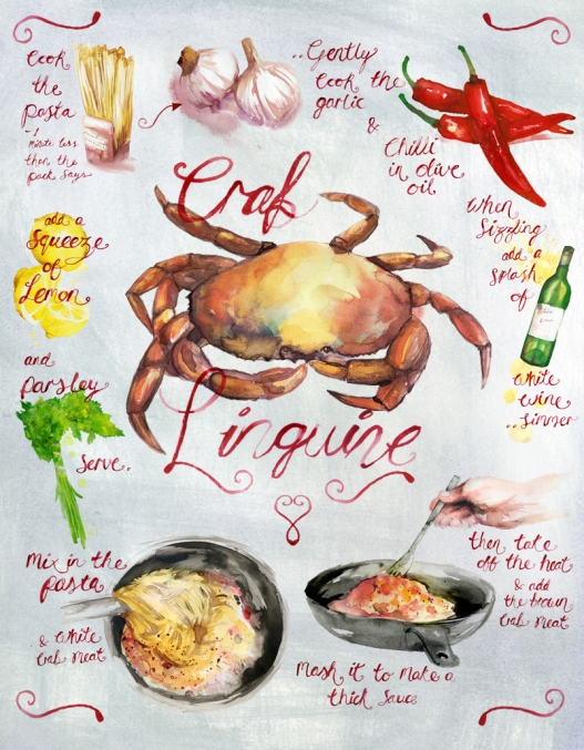 CRAB LINGUINE by Leona Beth Illustration